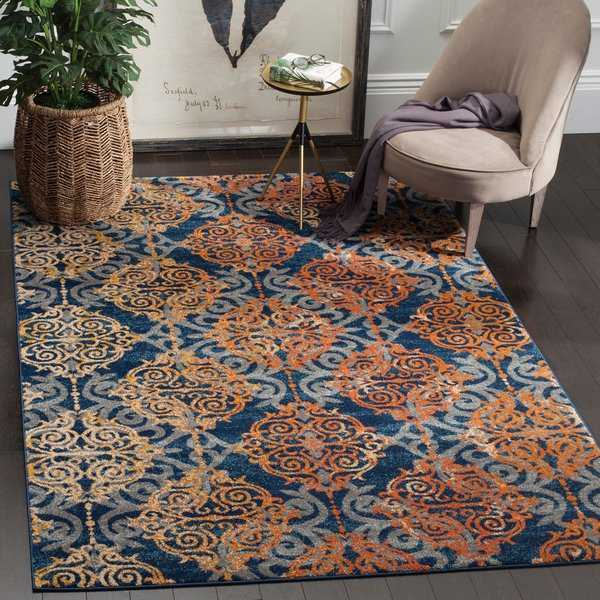Safavieh Evoke Vintage Damask Blue/ Orange Distressed Rug - 6'7' x 9'