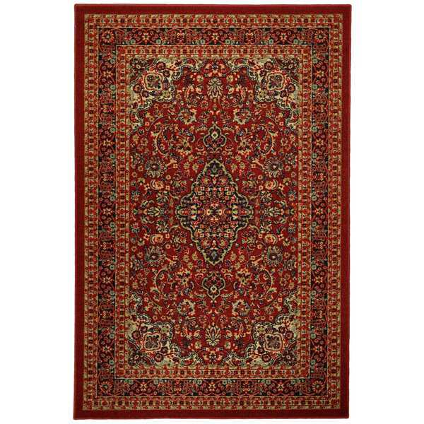 Rubber Back Red Traditional Floral Print Non-Skid Area Rug (3'3 x 5') - black/green/multi-color - 3'3 X 5'