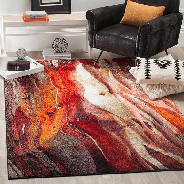 Safavieh Glacier Contemporary Abstract Red/ Multi Area Rug - 6'7' x 9'