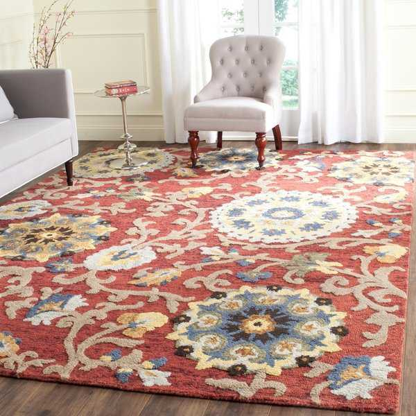 Safavieh Handmade Blossom Red / Multicolored Wool Rug - 8'9' x 12'